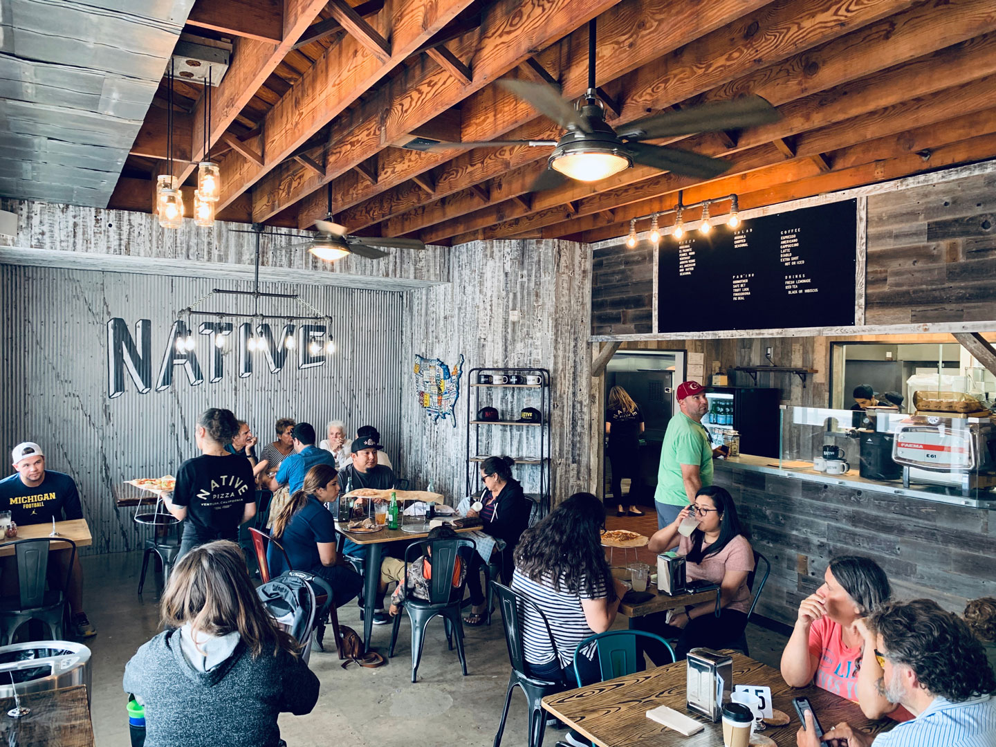 inside the dining room at Native Pizza in Ventura, California